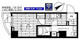 都営大江戸線 門前仲町駅 徒歩8分の賃貸マンション 7階1Kの間取り