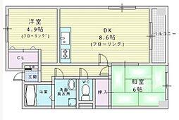 ドミトリー箕面[2階]の間取り