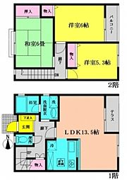 [テラスハウス] 神奈川県横浜市都筑区長坂 の賃貸【/】の間取り