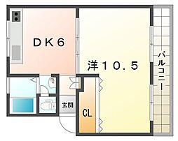 カーサ安福[2階]の間取り