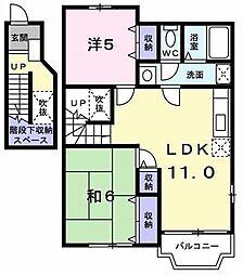 東京都昭島市福島町2丁目の賃貸アパートの間取り