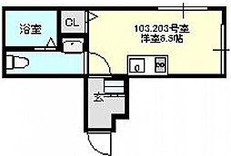 神奈川県横浜市鶴見区北寺尾1丁目の賃貸アパートの間取り
