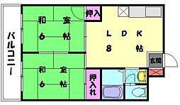 福岡県福岡市東区若宮2丁目の賃貸マンションの間取り
