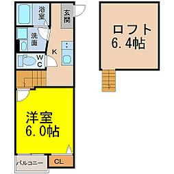 愛知県名古屋市中村区中村中町2丁目の賃貸アパートの間取り