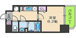 プレサンス梅田北アーリー 2階1Kの間取り
