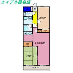 三重県桑名市長島町西外面の賃貸マンションの間取り