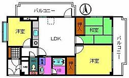 ライオンズマンション泉南樽井第2[814号室]の間取り