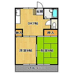 ブルーハイツ[1階]の間取り