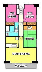 埼玉県所沢市けやき台2丁目の賃貸マンションの間取り