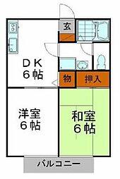 兵庫県姫路市西夢前台2丁目の賃貸アパートの間取り