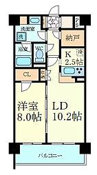 阪神本線 芦屋駅 徒歩10分の賃貸マンション 3階1SLDKの間取り
