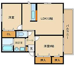 大阪府羽曳野市南恵我之荘5丁目の賃貸アパートの間取り
