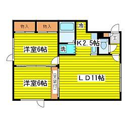 北海道札幌市東区北十二条東5丁目の賃貸アパートの間取り