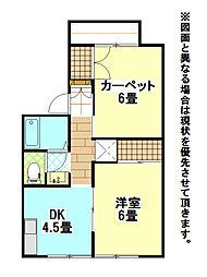 福岡県北九州市小倉北区霧ケ丘1丁目の賃貸アパートの間取り