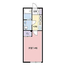 ルクレール新松戸 202号室[202号室]の間取り