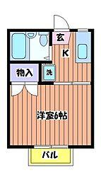 東京都立川市富士見町5丁目の賃貸アパートの間取り