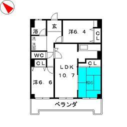 ユニーブル豊明III[2階]の間取り