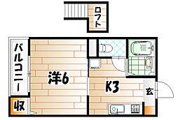 福岡県北九州市八幡西区折尾2丁目の賃貸アパートの間取り