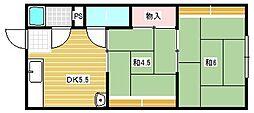 大阪府茨木市水尾1丁目の賃貸アパートの間取り