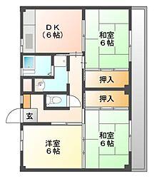 ビレッジハウス迎田2号棟[3階]の間取り