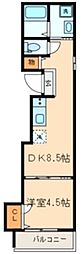 フォレストバレー 2階1LDKの間取り