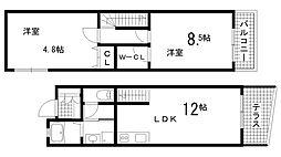 兵庫県神戸市長田区西山町1丁目の賃貸アパートの間取り