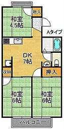 コスモ二色浜[1階]の間取り