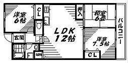 Osaka Metro長堀鶴見緑地線 鶴見緑地駅 徒歩18分の賃貸マンション 2階3LDKの間取り