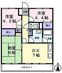 神奈川県横浜市港南区笹下2丁目の賃貸マンションの間取り