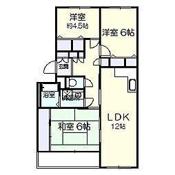 ガーデンヒルズ六高台B棟[105号室]の間取り