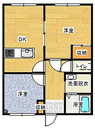 栃木県栃木市本町の賃貸マンションの間取り