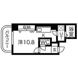 北海道札幌市中央区南二条西20丁目の賃貸マンションの間取り