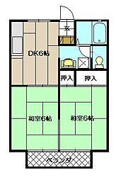 セジュール沖田[203号室]の間取り