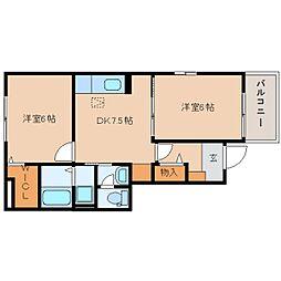 静岡県静岡市葵区北安東の賃貸アパートの間取り