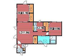 西岡4-11高田邸[3階]の間取り