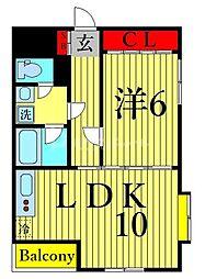 ペスパル南葛西 3階1LDKの間取り