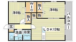 兵庫県姫路市飾磨区中浜町1丁目の賃貸マンションの間取り