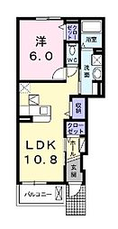 クレールコートII 1階1LDKの間取り