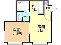 六番館 1階1DKの間取り