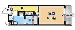サンクチュアリ城垣 1階1Kの間取り