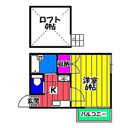 ハイツ博多駅南[2階]の間取り