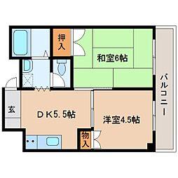 近鉄天理線 天理駅 徒歩6分の賃貸マンション 5階2DKの間取り