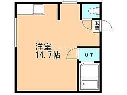 コーポドリーム2 2階ワンルームの間取り