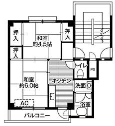 ビレッジハウス招提4号棟3階Fの間取り画像