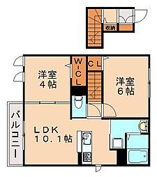 福岡県福岡市南区五十川2丁目の賃貸アパートの間取り