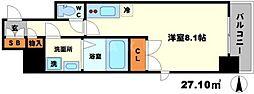 BPRレジデンス江坂 13階ワンルームの間取り