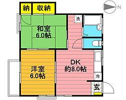 コーポ坂村[2F号室]の間取り