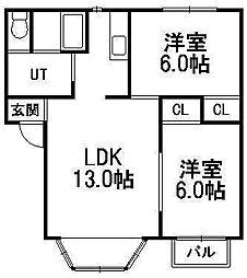 北海道札幌市豊平区月寒西一条9丁目の賃貸アパートの間取り