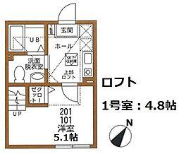 神奈川県横浜市磯子区栗木1の賃貸アパートの間取り
