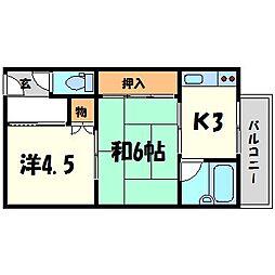 第2カシノハイツ[1階]の間取り